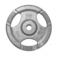 """TnP Accessories Tri Grip Olympic Weight Plate 2"""" 5Kg Silver"""