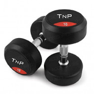 TNP ACCESSORIES® Round Solid Cast Iron Rubber Coated Dumbbells Pairs - 18Kg