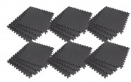 Interlocking EVA Soft Foam Exercise Gym Floor Mats - Black - 4 x 6 Box