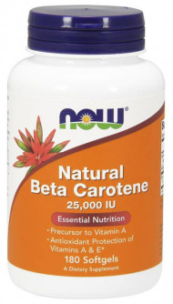 NOW Foods Natural Beta Carotene 25000IU 180 Softgels