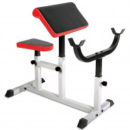 Adjustable Arm Curl Preacher Bench Metal Workout Biceps Sturdy Square Steel