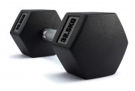 TNP ACCESSORIES® Hexagonal Rubber Encased Dumbbells 32.5Kg Pair